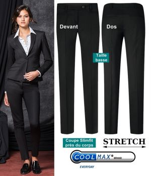 Pantalon Femme, Taille basse, Coupe cigarette, Confort Coolmax et Stretch