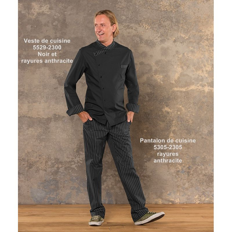 veste de cuisine boulanger taille m noir et rayures noir et anthracite. Black Bedroom Furniture Sets. Home Design Ideas