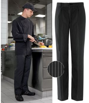 Pantalon cuisinier boulanger homme, Rayures anthracite