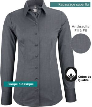 Chemisier manches longues, Anthracite Taille 46
