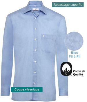 Chemise homme manches longues, chiné fil à fil bleu, repassage superflu, Coton