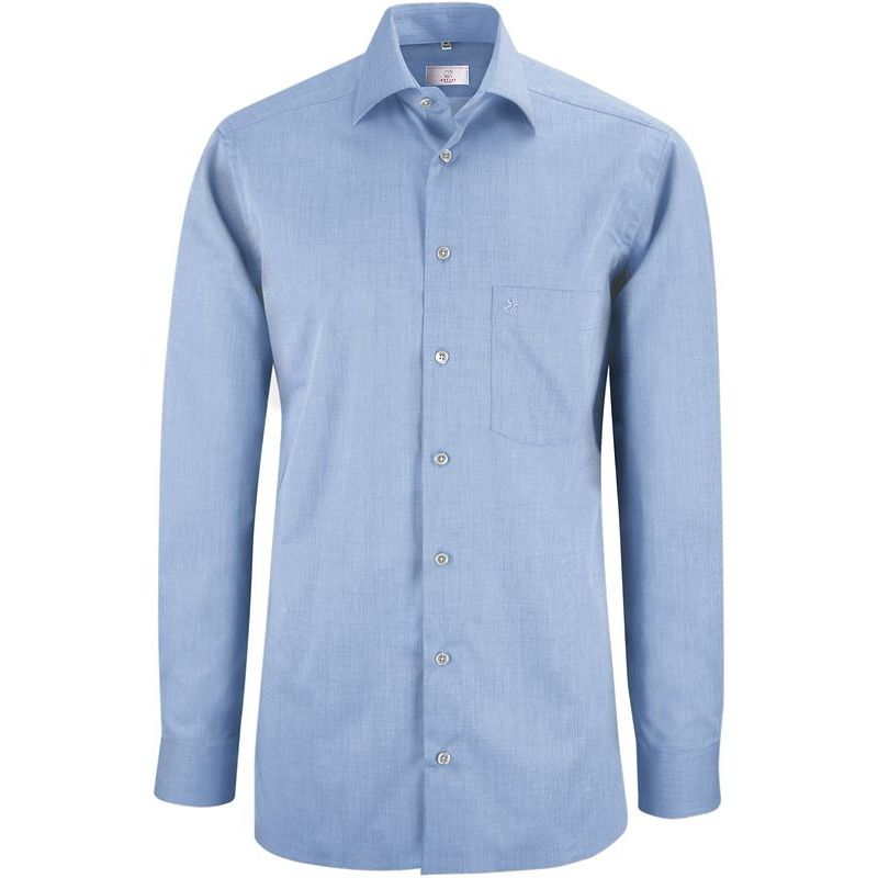 chemise homme manches longues chin fil fil bleu repassage superflu coton. Black Bedroom Furniture Sets. Home Design Ideas