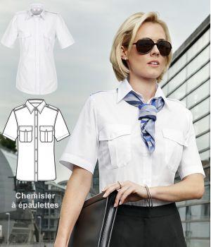 Chemisier blanc femme, manche courte, épaulettes, Entretien repassage facile