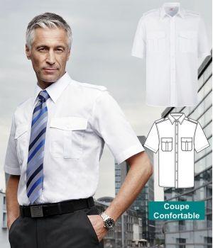 Chemise homme manche courte, épaulettes, Entretien repassage facile, Blanc