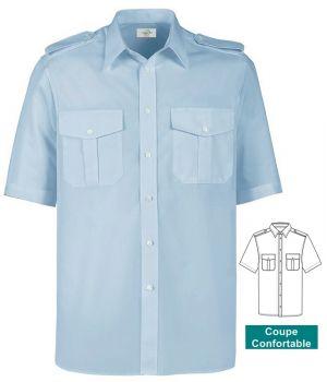 Chemise homme manche courte, avec épaulettes, bleu ciel