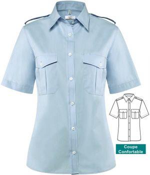 Chemisier bleu femme, manche courte, épaulettes, Entretien repassage facile