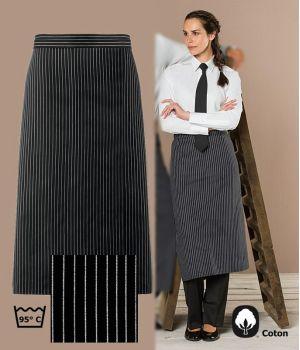 Tablier Bistro, Rayures Noir et Blanc, coton, Hauteur 80 cm x Largeur 100 cm