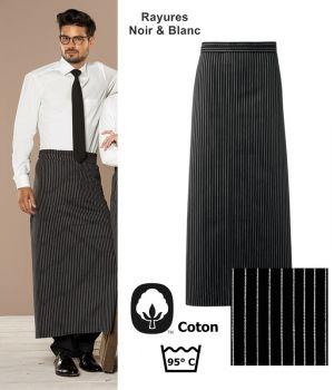 Tablier bistro, Rayures Noir et Blanc, 100% coton, 100 x 100cm, le paquet de 3