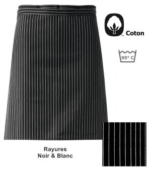 Tablier bistro, Rayures Noir et Blanc, 100 % coton, 50 x 90cm, le paquet de 3