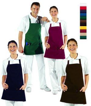 Tablier à bavette, 3 poches, Bretelles réglables, longueur 65 cm