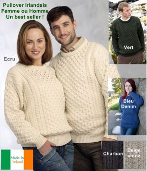 Pullover Irlandais pour femme ou homme, Ras de cou, Laine Mérinos