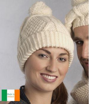 Bonnet traditionnel Irlandais, 100% Laine Mérinos extra douce, Couleur écru
