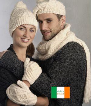 Moufles, mitaines, Point traditionnel Irlandais, Laine Mérinos extra douce