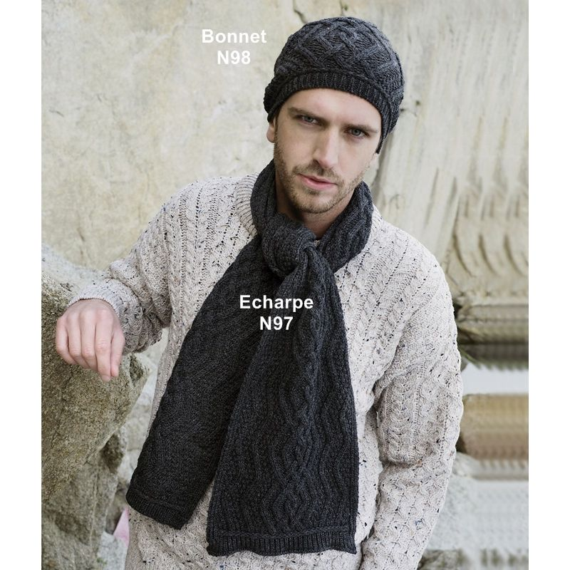 b8fb5b3695f Echarpe laine homme foulard femme gris