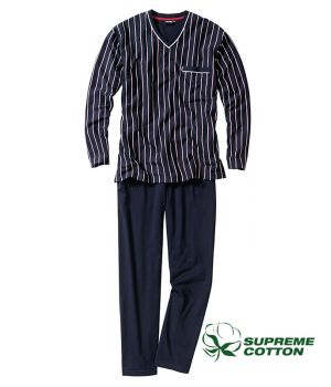 Pyjama homme, 100% Coton Jersey confortable, Marine et rayures blanches