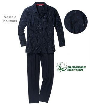 Pyjama homme, 100% Coton Popeline, Chic et confortable, Veste à boutons