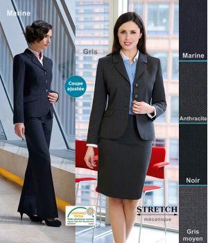 Veste Femme, Coupe ajustée, Revers arrondi, résistance, fluidité et élégance