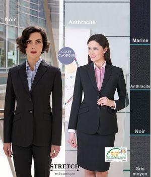 Veste Femme, Coupe classique, 2 boutons, résistance, fluidité et élégance