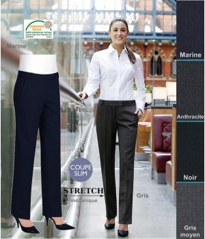 Pantalon Femme, Coupe Slim, 2 poches, résistance, fluidité et élégance