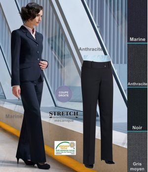 Pantalon Femme, Taille basse, Coupe droite, résistance, fluidité et élégance