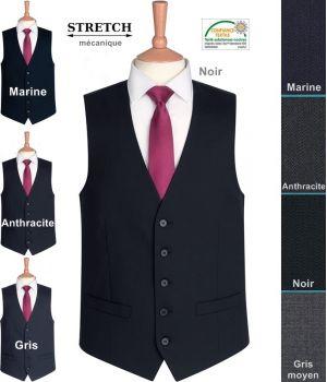 Gilet Homme, 5 boutons, 2 poches, résistance, fluidité et élégance