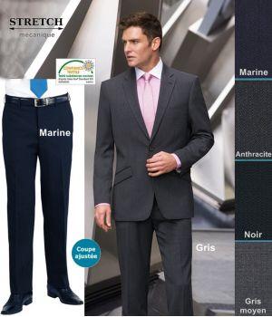 Pantalon Homme, Coupe ajustée, Sans pinces, résistance, fluidité et élégance