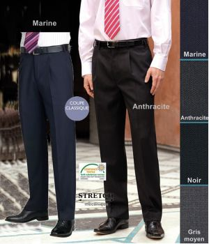 Pantalon Homme, à pinces, Coupe classique, résistance, fluidité et élégance