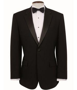 Veste de smoking Homme noire, Revers et poches en satin, 1 bouton