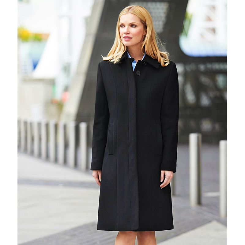 manteau femme noir laine et cachemire coupe droite. Black Bedroom Furniture Sets. Home Design Ideas