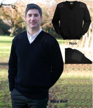 Pull homme, Acrylique Premium, Renforts aux épaules et aux coudes