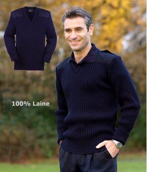 Pull homme, col V, 100% laine, bleu marine, à épaulettes