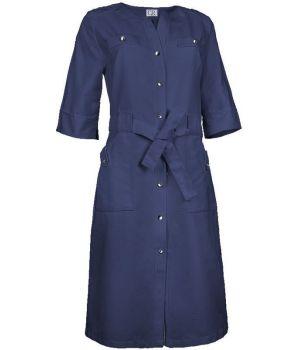 Blouse Femme, Marine, Boutons pression, Ceinture tissu, Coupe tendance
