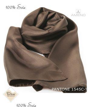 Foulard Femme 100% Soie, Marron, Doux au toucher, 20 x 160 cm