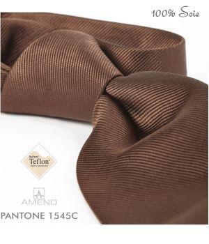 Cravate 100% Soie, Marron, Doux au toucher, Traité anti taches, Largeur 7 cm