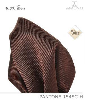Pochette de costume 100% Soie, Marron, Doux au toucher, Carré 25 x 25 cm