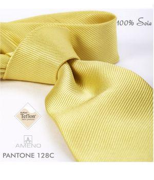 Cravate 100% Soie, Jaune, Doux au toucher, Traité anti taches, Largeur 7 cm