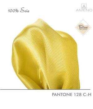 Pochette de costume 100% Soie, Jaune, Doux au toucher, Carré 25 x 25 cm