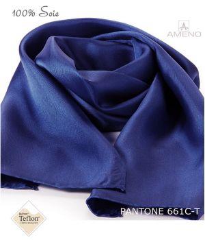 Foulard Femme 100% Soie, Bleu Saphir, Doux au toucher, 20 x 160 cm