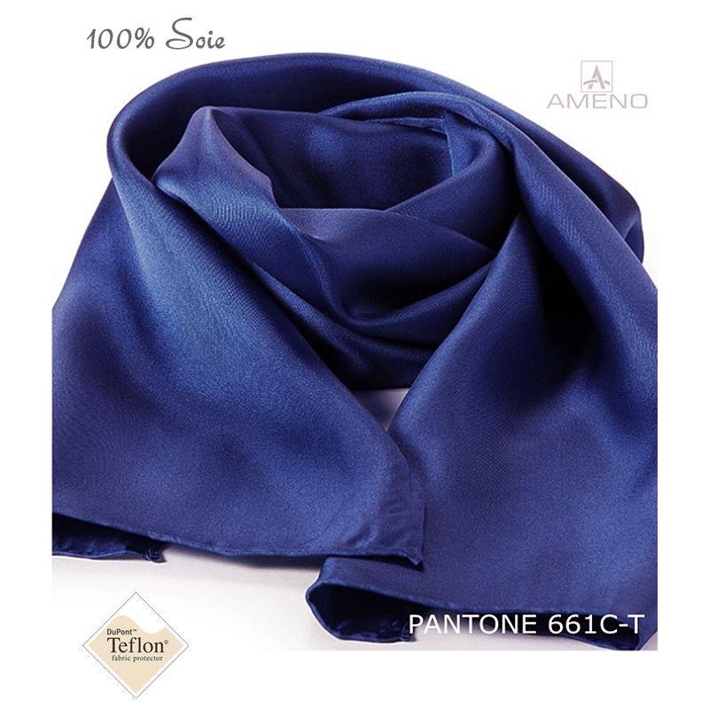 6df3d63b02709 Foulard Femme 100% Soie, Bleu Saphir, Doux au toucher, 20 x 160 cm