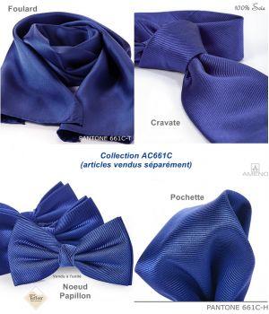 Cravate 100% Soie, Bleu Saphir, Doux au toucher, Traité anti taches, Largeur 7 cm