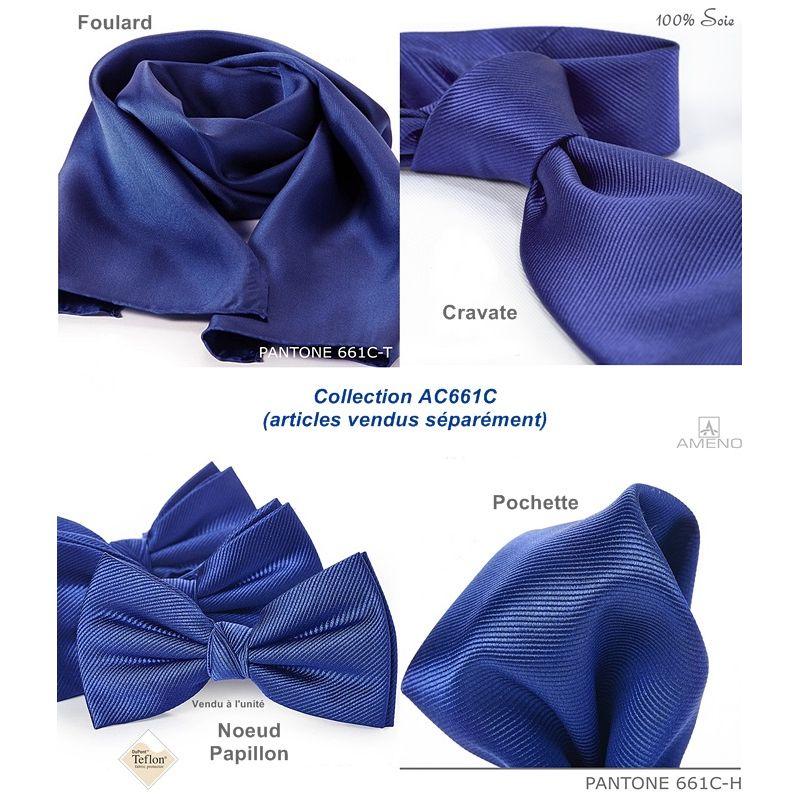 Cravate Soie, Bleu Saphir, Doux au toucher, anti taches, Largeur 7 cm ac27d77e138