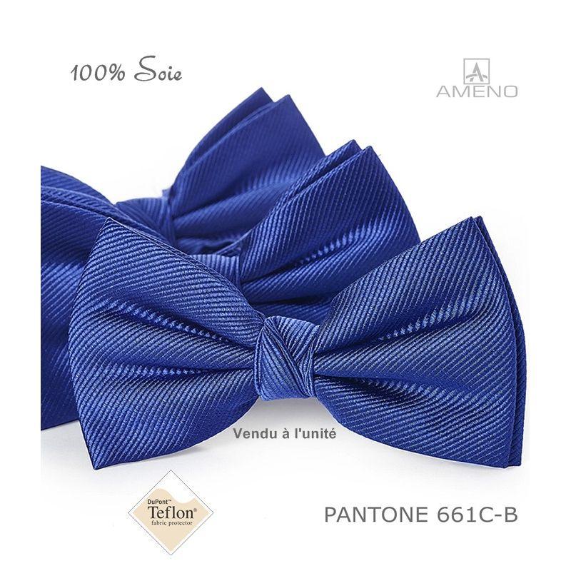 345f9561a003d Noeud papillon, 100% Soie, Bleu Saphir, Doux au toucher, Déjà noué