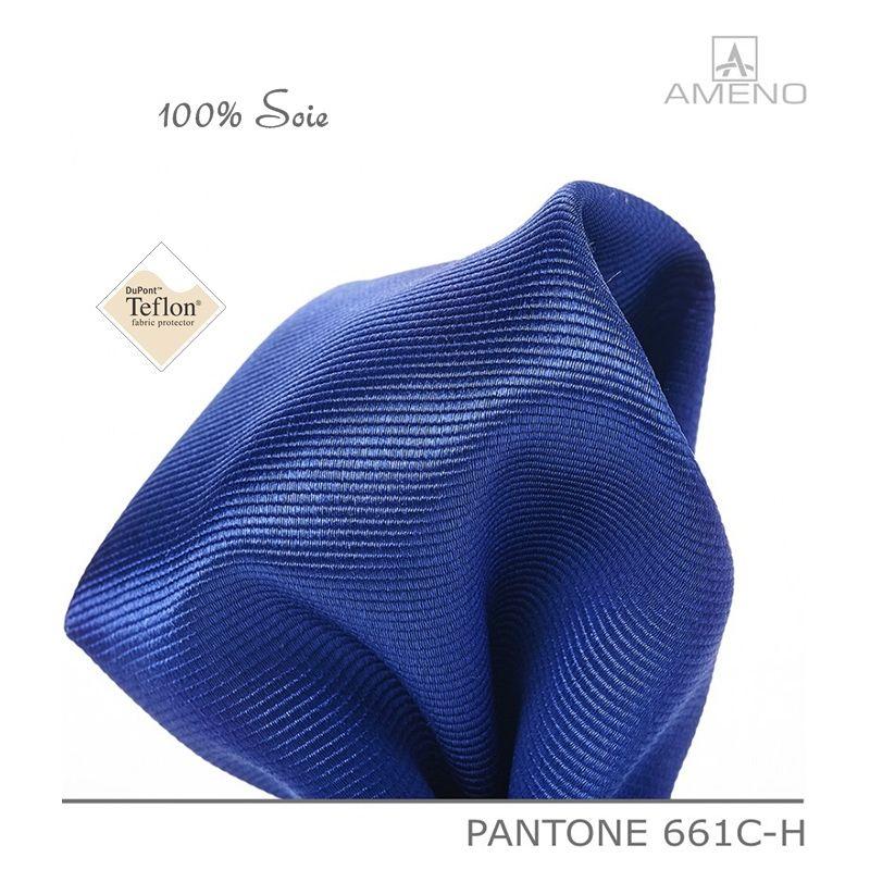 5d27341c180dc Pochette de costume 100% Soie, Bleu Saphir, Doux au toucher, Carré 25 x 25  cm