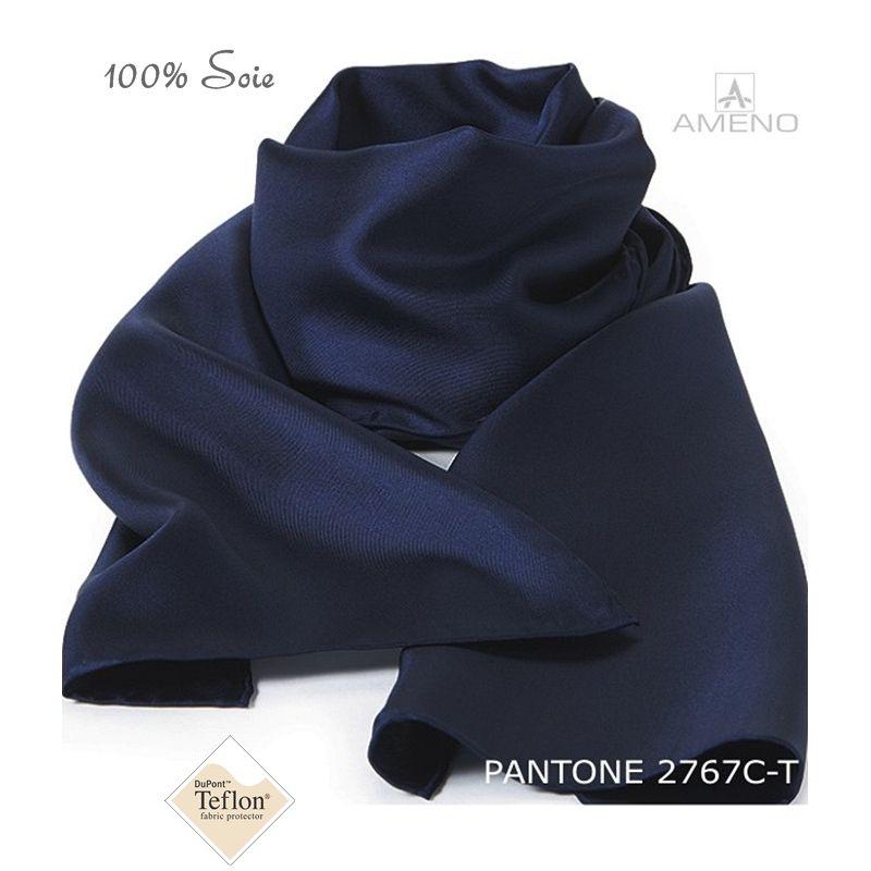 Foulard Femme 100% Soie, Marine, Doux au toucher, 20 x 160 cm 75c7c0e3e26