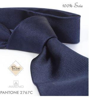 Cravate 100% Soie, Marine, Doux au toucher, Traité anti taches, Largeur 7 cm