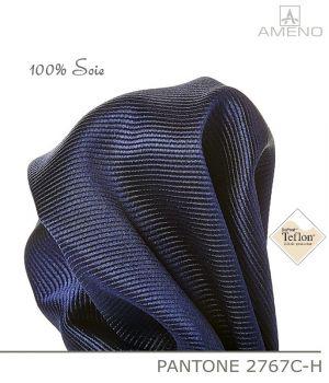Pochette de costume 100% Soie, Marine, Doux au toucher, Carré 25 x 25 cm