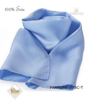 Foulard Femme 100% Soie, Bleu ciel, Doux au toucher, 20 x 160 cm