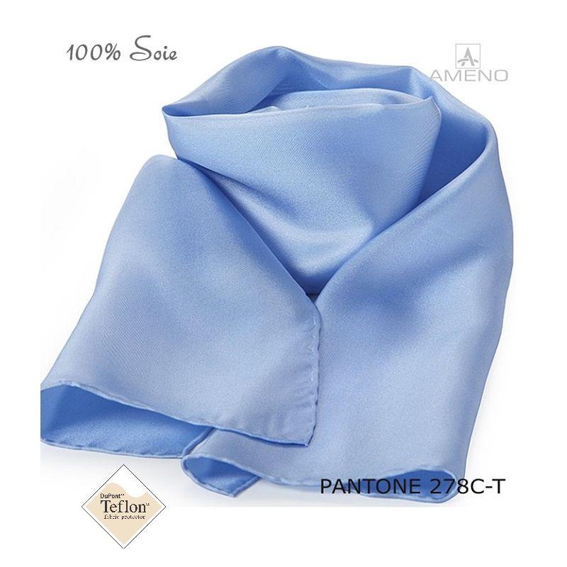 aa97f806bc07c Foulard Femme 100% Soie, Bleu ciel, Doux au toucher, 20 x 160
