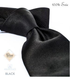 Cravate 100% Soie, Noir, Doux au toucher, Traité anti taches, Largeur 7 cm