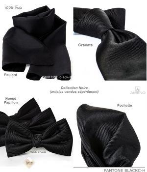 Pochette de costume 100% Soie, Noir, Doux au toucher, Carré 25 x 25 cm